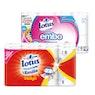 LOTUS Soft Embo wc-paperi 16 rl valkoinen ja Emilia talouspyyhe 8 rl valkoinen ja design