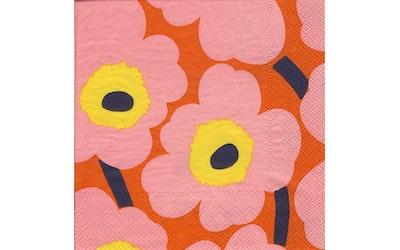Marimekko lautasliina 33cm 20kpl Unikko rosa-oranssi