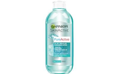 Garnier Skin Active Pure Active All-in-1 Micellar puhdistusvesi 400ml  rasvoittuvalle ja sekaiholle