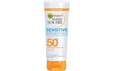 Garnier Ambre Solaire Sensitive Advanced sk50+ aurinkosuojaemulsio 50ml kasvoille ja dekolteelle
