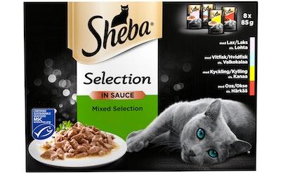 Sheba Selection 8x85g Valikoidut reseptit kastikkeessa MSC sertifioitu