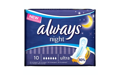 Always Ultra Night 10kpl terveysside