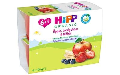 HIPP Fruit break omenaa, mansikkaa ja mustikkaa 4x100g 6kk luomu