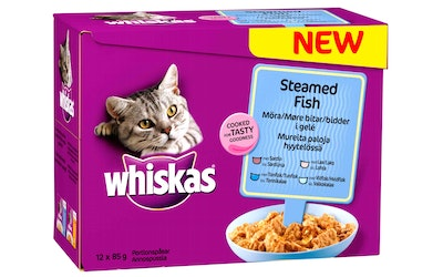 Whiskas annoslaj Steamed Fish höyrytetty 12x85g