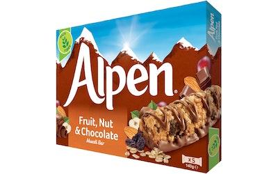 Alpen Fruit & Nut with Milk Chocolate myslipatukka 5x29 g