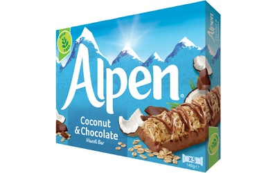 Alpen Coconut & Milk Chocolate myslipatukka 5x29 g
