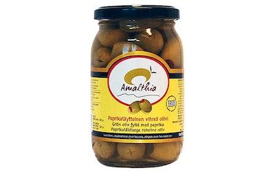 Amalthia paprikatäytteinen vihreä oliivi 350/220 g