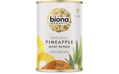 Biona ananasminirenkaat mehussa 400g/225g luomu