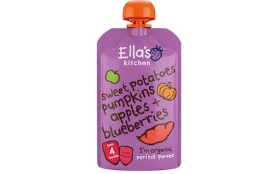 Ella's Kitchen Luomu bataatti-kurpitsa-omena-mustikkasose 120g 4kk