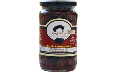 Amalthia Kivetön Kalamata-oliivi suolaa vähennetty 350g/200g