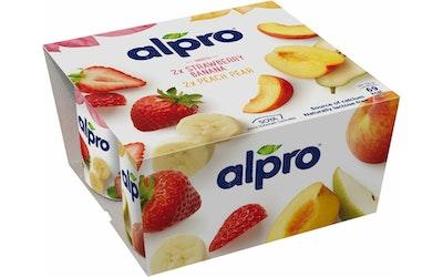 Alpro soijavalmiste 4x125g persikka-päärynä/mansikka-banaani