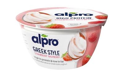 Alpro Greek Style proteiinipitoinen soijavalmiste 150g mansikka-vadelma