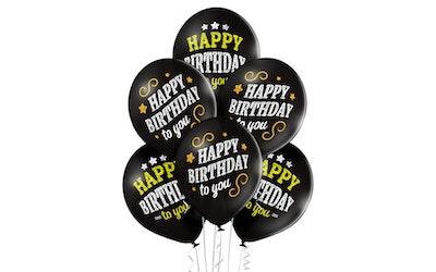 Happy Birthday 30cm musta ilmapallo 6kpl