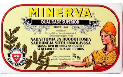 Minerva nahattomia ja ruodottomia sardiineja sitruunaöljyssä 120g