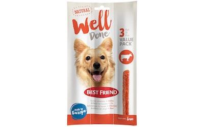 Best Friend WellDone koiran pihvitikku 3-pack härkä