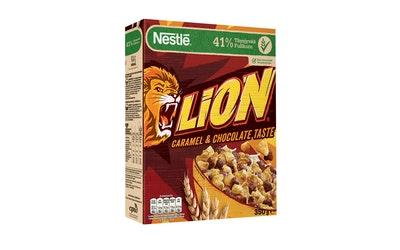 Nestlé Lion 350g suklaan ja toffeen makuisia täysjyvämuroja