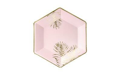 Kultaiset lehdet 23cm kulmikas lautanen 6kpl vaaleanpunainen