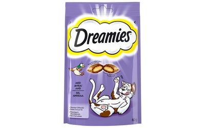 Dreamies 60g sis. Ankkaa, täydennysrehua kissoille ja kissanpennuille