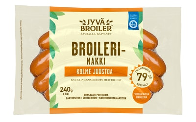 Jyväbroiler broilerinakki 240g kolme juustoa
