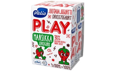 Valio Play juotava jogurtti 4x100 ml mansikka laktoositon