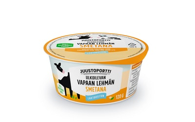 Juustoportti Vapaan lehmän smetana 120g laktoositon