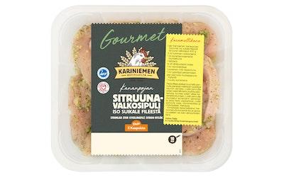 Kariniemen Gourmet Kananpojan Iso suikale fileestä Sitruuna-valkosipuli 400 g - kuva