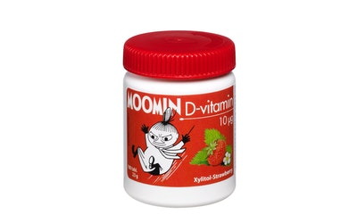 Moomin D-vitamin 10µg 100 tabl. Xylitol-Strawberry