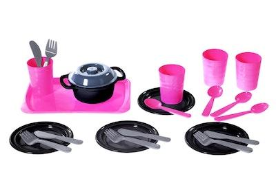 Plasto Ruoka-astiasto neljälle, pinkki