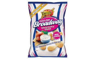 Taffel Broadway Less Fat 325g sourcream&onion maustettu perunalastu