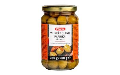 Pirkka vihreät oliivit paprikatäytteellä 350/200 g