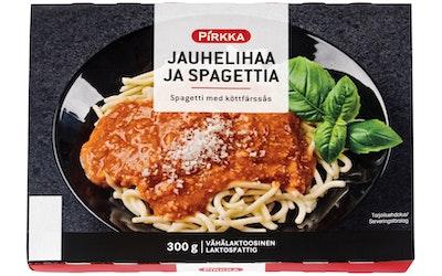 Pirkka jauhelihaa ja spagettia 300 g