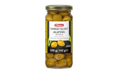 Pirkka vihreät oliivit jalapenotäytteellä 235g/140 g