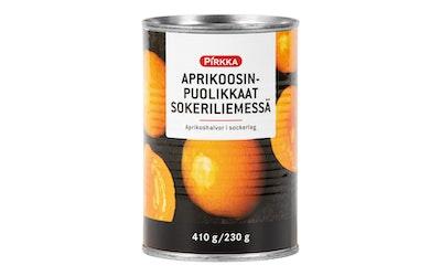 Pirkka aprikoosinpuolikkaat sokeriliemessä 410g/230g