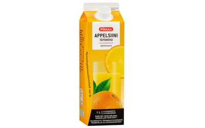 Pirkka appelsiinitäysmehu 1l sisältää hedelmälihaa