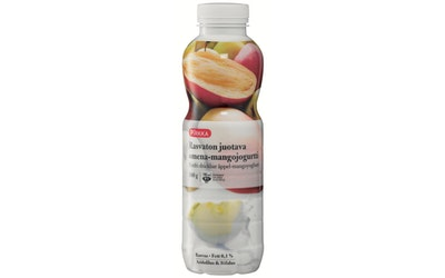 Pirkka rasvaton  juotava jogurtti omena-mango 500g