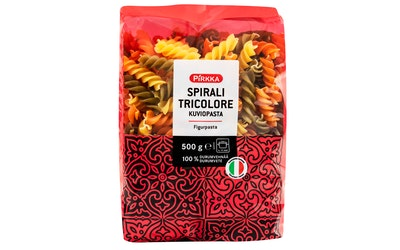 Pirkka kuviopasta spirali tricolore 500 g