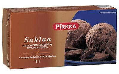 Pirkka suklaa suklaakermajäätelöä ja suklaakastiketta 1L