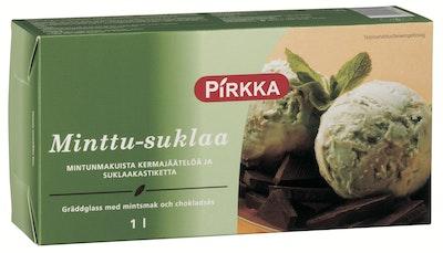 Pirkka minttu-suklaa mintunmakuista kermajäätelöä ja suklaanmakuista kastiketta 1l/509g