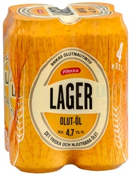 Pirkka lager olut 0,5l 4,7% tlk 4-pack
