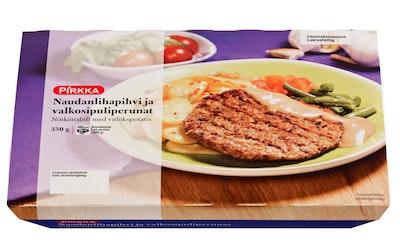 Pirkka naudanlihapihvi ja valkosipuliperunat 350 g