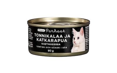 Pirkka Parhaat tonnikalaa ja katkarapuja kastikkeessa kissalle 80g