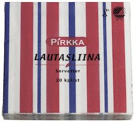 Pirkka lautasliina raita sini-punainen 33x33 cm 20 kpl