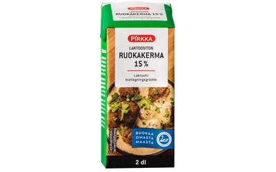Pirkka laktoositon ruokakerma 15% 2 dl