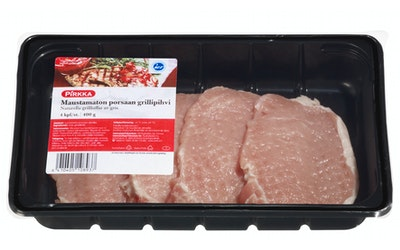 Pirkka maustamaton porsaan grillipihvi 4kpl/400g
