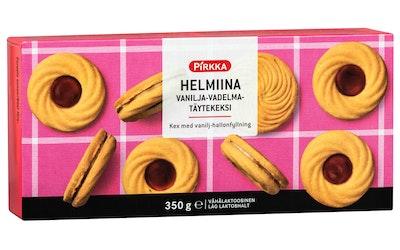 Pirkka Helmiina vaniljan- ja vadelmanmakuinen täytekeksi 28kpl/350g