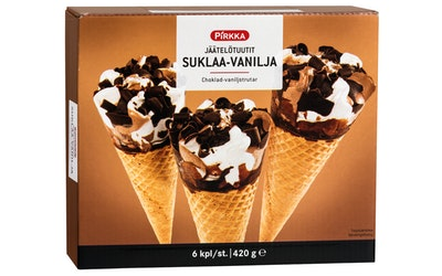 Pirkka jäätelötuutit suklaa-vanilja 6 kpl/420g