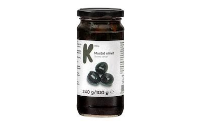 K-Menu kivettömät mustat oliivit 240g/100g