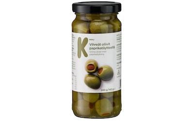 K-Menu paprikatahnatäytteisiä vihreitä oliiveja 240 g / 142 g