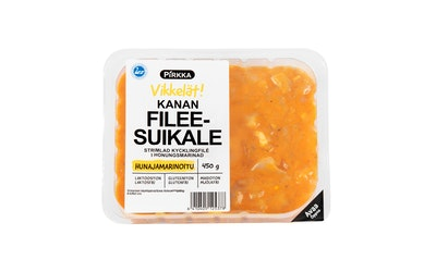 Pirkka suomalainen hunajamarinoitu broilerin fileesuikale 450g