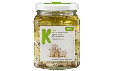 K-Menu salaattijuustokuutiot maustetussa öljymarinadissa 300g/150g